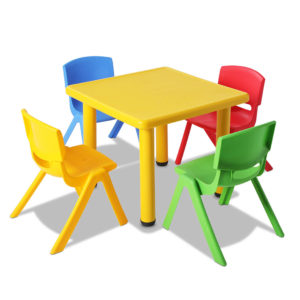 Keezi 5 Piece Kids Table and Chair Set – Yellow