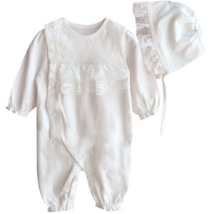 2-Piece Spanish Style Newborn Baby Lace-trimmed Ruffle Overalls White/ Pink
