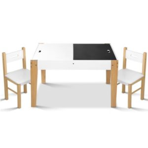 Artiss Kids Table and Chair Storage Desk – White & Natural