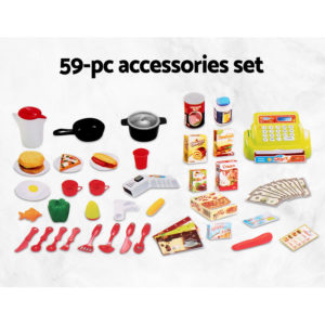 Keezi 59 Piece Kids Super Market Toy Set – Red & White