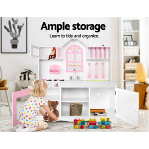Keezi Kids Wooden Kitchen Play Set – White & Pink
